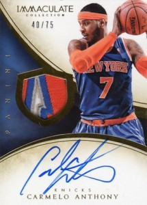 2013-14 Panini Immaculate Collection Basketball Patches Autographs Carmelo Anthony