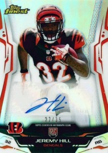 2014 Topps Finest Football Rookie Refractor Autograph Variation Jeremy Hill