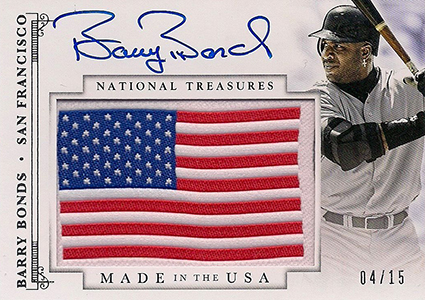 2014 National Treasures Barry Bonds Made in the USA Autograph