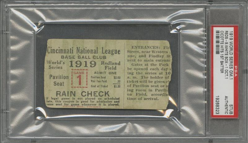 1919 World Series Ticket Stub Game 1 Front