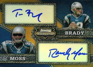 2008 Bowman Sterling Dual Autograph Gold Refractors Randy Moss Tom Brady