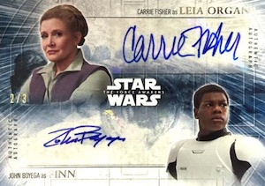 2016 Topps Star Wars- The Force Awakens Series 2 John Boyega as Finn Autograph Dual Leia