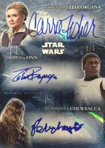 2016 Topps Star Wars- The Force Awakens Series 2 John Boyega as Finn Autograph Triple Leia