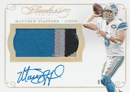 2015 Panini Flawless Football Patches Autographs Gold Stafford