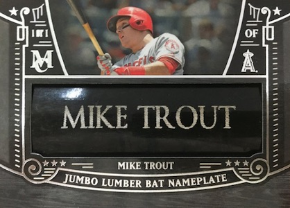 2016 Topps Museum Collection Baseball Jumbo Lumber Bat Nameplate Trout