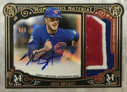 2016 Topps Museum Collection Baseball Momentous Material Autograph Kris Bryant