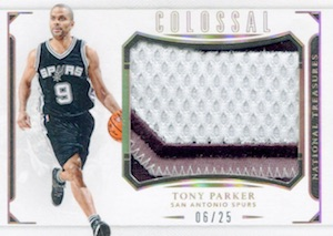 2015-16 Panini National Treasures Basketball Colossal Patch Tony Parker
