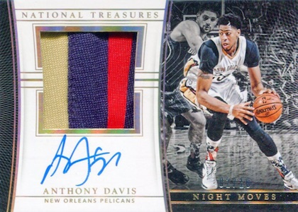 2015-16 Panini National Treasures Basketball Night Moves Jersey Autograph Anthony Davis