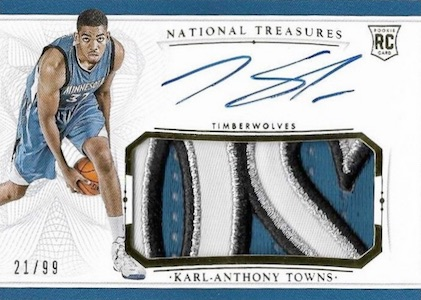 2015-16 Panini National Treasures Basketball Rookie Patch Autographs RC Karl-Anthony Towns