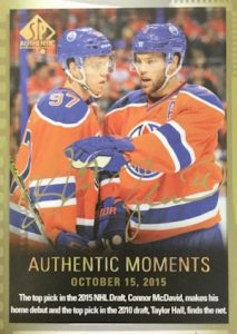 2015-16 SP Authentic Hockey Authentic Moments Limited Autographs McDavid Hall