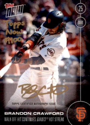 2016 Topps Now Baseball #100 Brandon Crawford Autograph