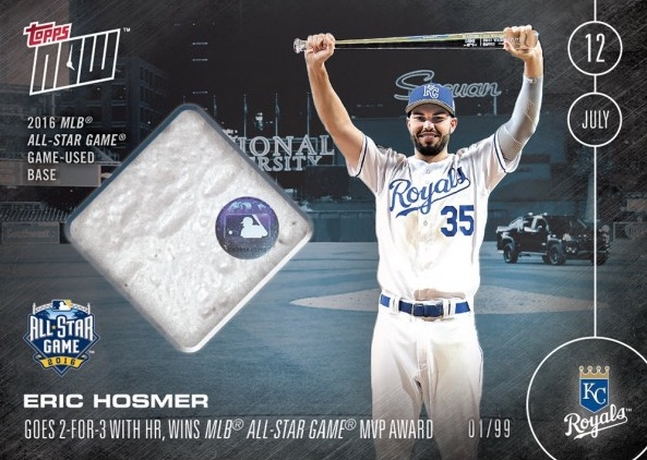 2016 Topps Now Baseball 247 Eric Hosmer All-Star Game MVP Base Relic