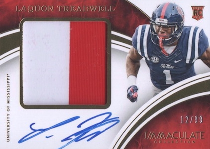 2016 Panini Immaculate Collegiate Football Premium Patches Autographs Treadwell