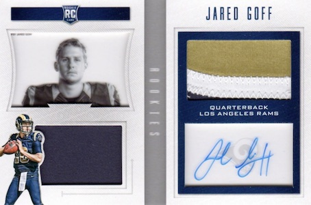 2016 Panini Playbook Football Rookie Playbook Jersey Autographs Goff